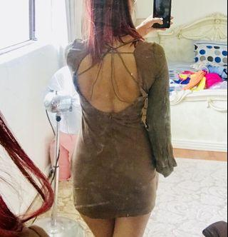 Brown bell sleeve body con dress with open back - fits like a small
