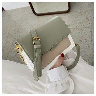 Brand new avocado green white small sliding bag with two straps