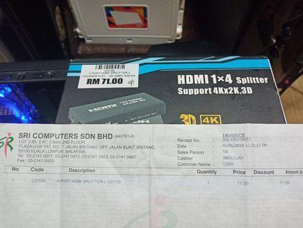 HDMI SPLITTER 1 X 4 PORT