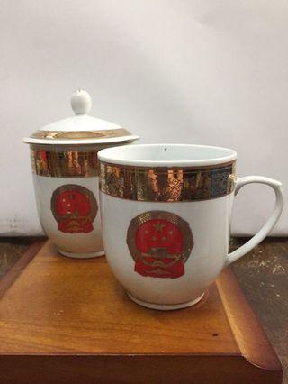 景德镇红国徽盖杯x2
