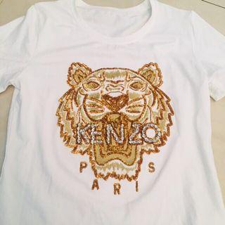 純白色KENZO原單品  老虎頭刺繡電繡 水鑽寶石加工 短袖 彈性 休閒棉T  近新 質料不錯 尺碼M左右可