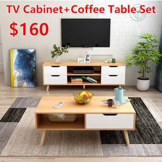 Tv console F15s + Coffee Table H26s (Brown / White)