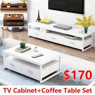 BN TV Cabinet F29+Coffee Table Set H71 (White / Brown)