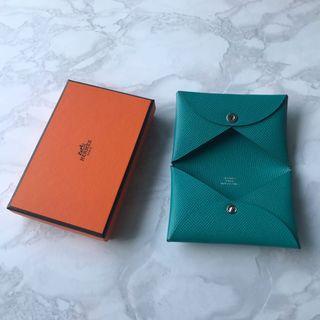 Hermes Card Holder Calvi blue paon epsom