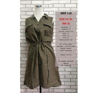 ARMY GREEN SLEEVELESS DRESS