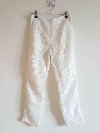 Lace white ivory pants