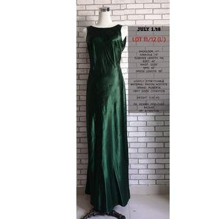SATIN GREEN LONG DRESS