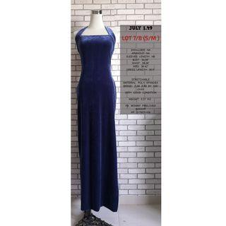 HATLER NECK BLUE VELVET LONG DRESS