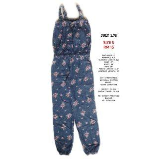 FLORAL DENIM JUMPSUITS