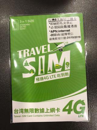 台灣上網數據卡sim卡 4G無限 全新 未開 (買多左一張而想放)
