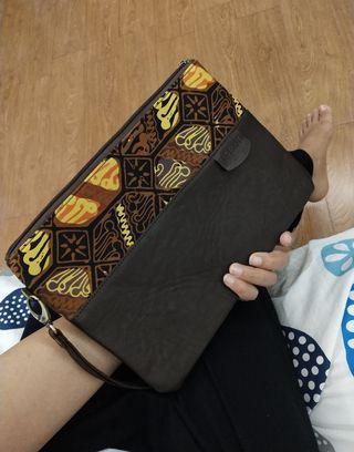 Free! Batik leather clutch