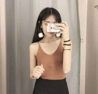Ulzzang Brown Sleeveless Knitted Camisole Top