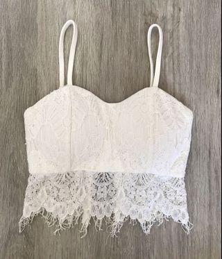 🚚 White Lace Bralet Crop Top