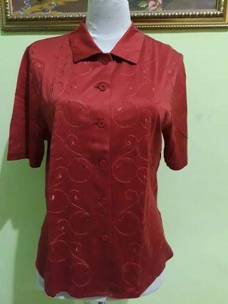 Kemeja merah bordir impor