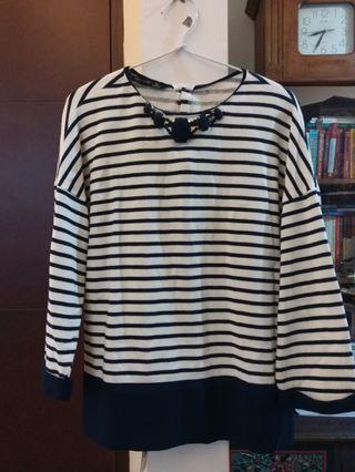 Zara navy stripe posh blouse