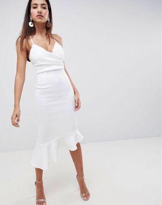 ASOS DESIGN scuba cami pephem white midi dress