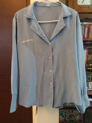 Dusty blue soft loose blouse