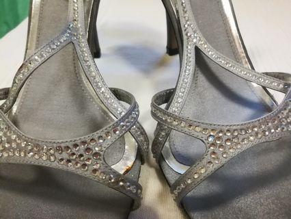 Lewre Silver Diamante Strap Heels