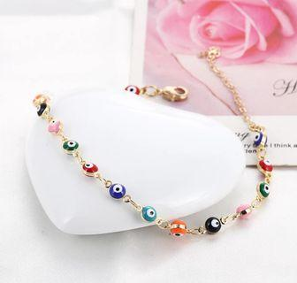 Bohemian Colorful Turkish Eyes Anklets for Women Gold Color Beads Summer Ocean Beach Ankle Bracelet