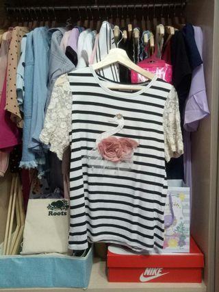 韓版蕾絲條紋棉感上衣S. M🉑