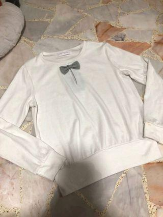 white sweet ribbon japanese long sleeve thin pullover