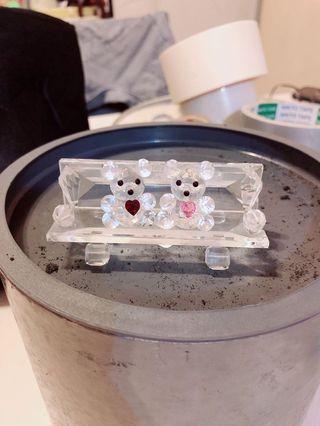 Teddy bear on bench crystal   水晶情侶小熊