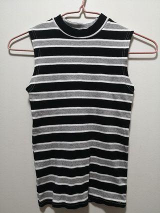 (2 for $8) Black and grey stripes knitted top