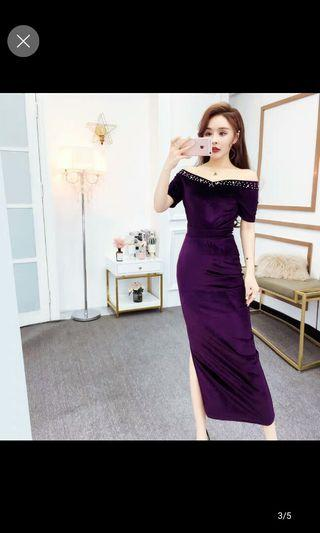 Evening Dress velvet off shoulder dress