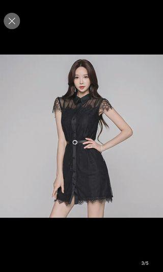 Sexy black offwear with belt chiffon dress