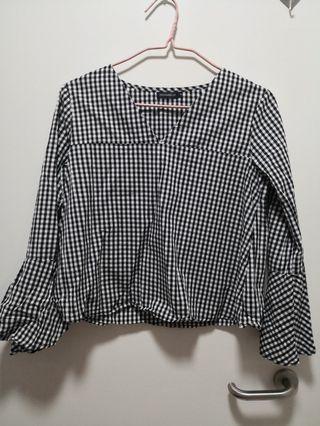 (2 for $15) Dressabelle Bell sleeved checkered top