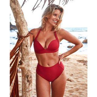 [Malaysia Stock] Red Bikini Set Push Up High Waist Halter Tie Swimsuit