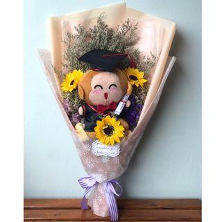 🚚 Graduation Bouquet / Dried and Preserved Flower + Soap Sunflower Bouquet with Monkichi Plush Toy / Convocation / Graduation Ceremony [INSTOCK]