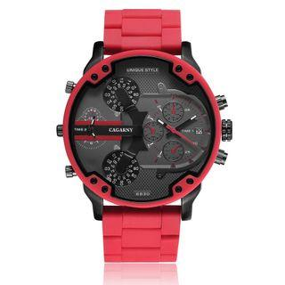 Quartz Watch For Men Luxury Cagarny Cool Big Case Red Silicone Steel Band Sports Wristwatch