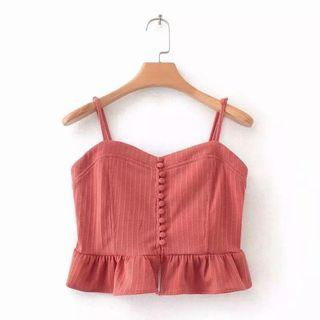 Terracotta Cropped Button Cami