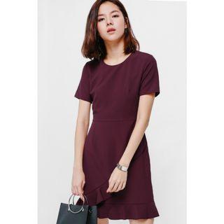 LB Ashkayn Asymmetrical Ruffle Hem Dress in Maroon/Wine Red S