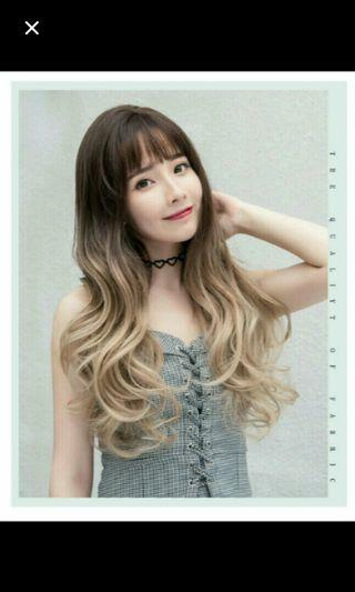 (No instocks!) Preorder korean ombre gradient dip dyed wavy long Wig* waiting time 15 days after payment is made * chat to buy to order