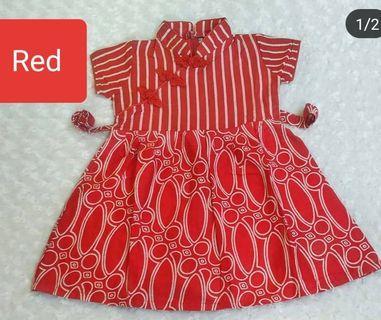 Chongsam Batik Red Colour Instock