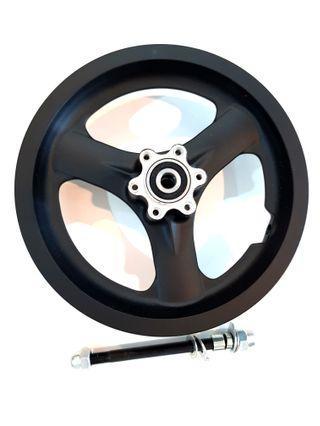 **In-Stock = Trispoke Wheel Alloy 12 Inch With Axle Set Escooter Front Wheel Ultra Light Weight ( Trispoke 635g Vs Star Rim 878g ) Lessen 243g.( Trispoke 635g Vs Fan Rim 797g ) Lessen 162g.