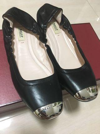 Bally black flats authentic