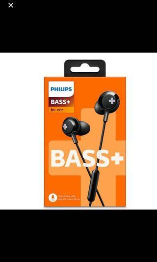 PHILIPS 飛利浦 BASS+帶咪高風耳筒SHE4305BK 帶咪高風耳筒 12.2 毫米驅動器 / 密閉型, 入耳式  SHE4305BK/00 耳筒 耳機