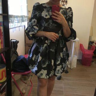 Navy Blue Floral Puff Sleeve Dress