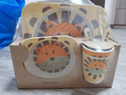 Lion bamboo feeding set