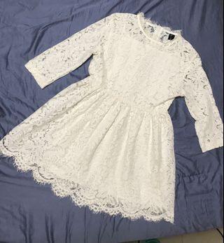 甜美白色水溶蕾絲澎澎洋裝 高腰 公主 顯瘦小洋裝