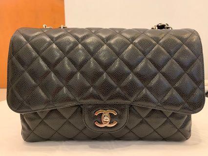 Chanel Jumbo Single Flap Black Caviar Leather with Silver Hardware