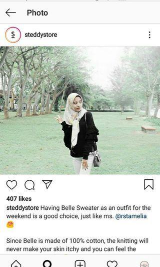 Belle sweater warna hitam dari steddy