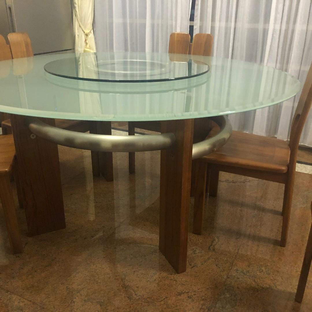 8 Seater Round Dining Table With Lazy Susan Furniture Tables Chairs On Carousell