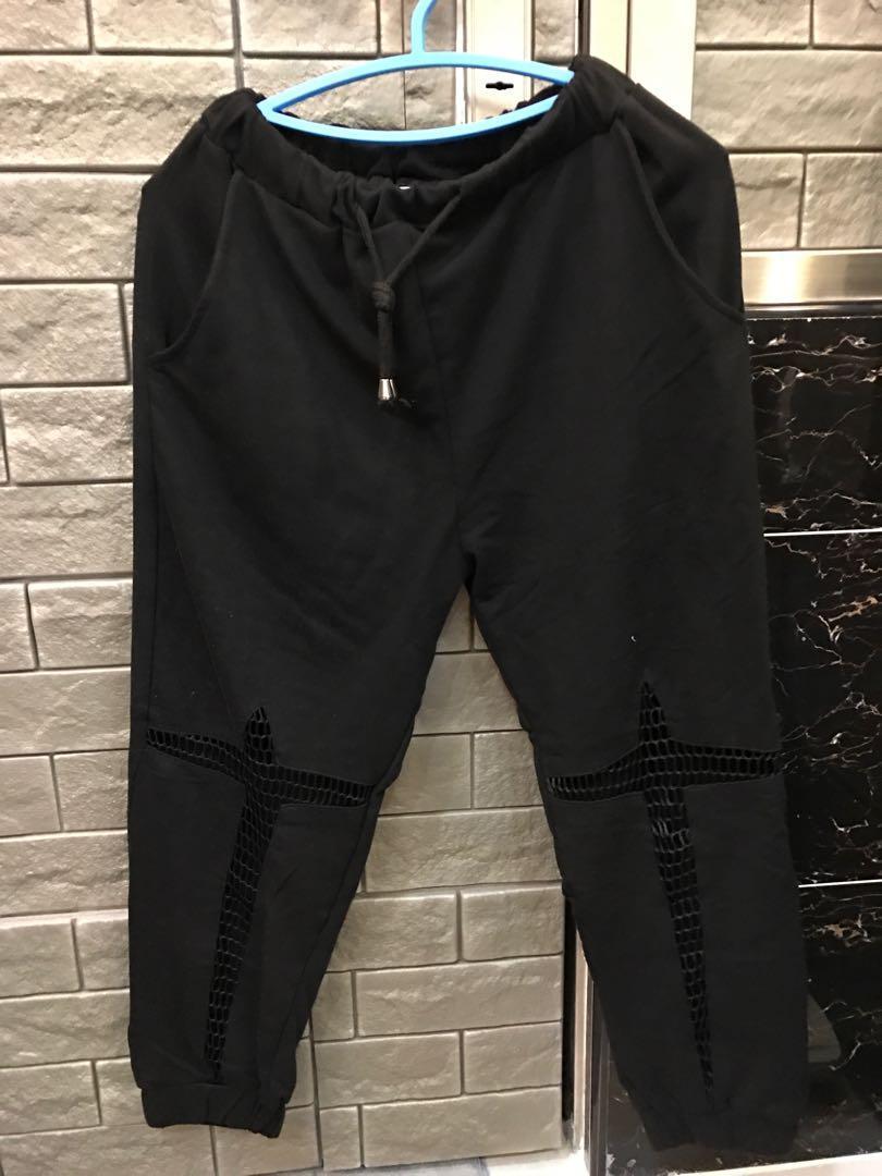 📍黑色 鬆緊造型縮口褲 M L