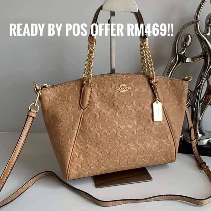 AUTHENTIC COACH F49317 SMALL KELSEY CHAIN SATCHEL IN SIGNATURE LEATHER