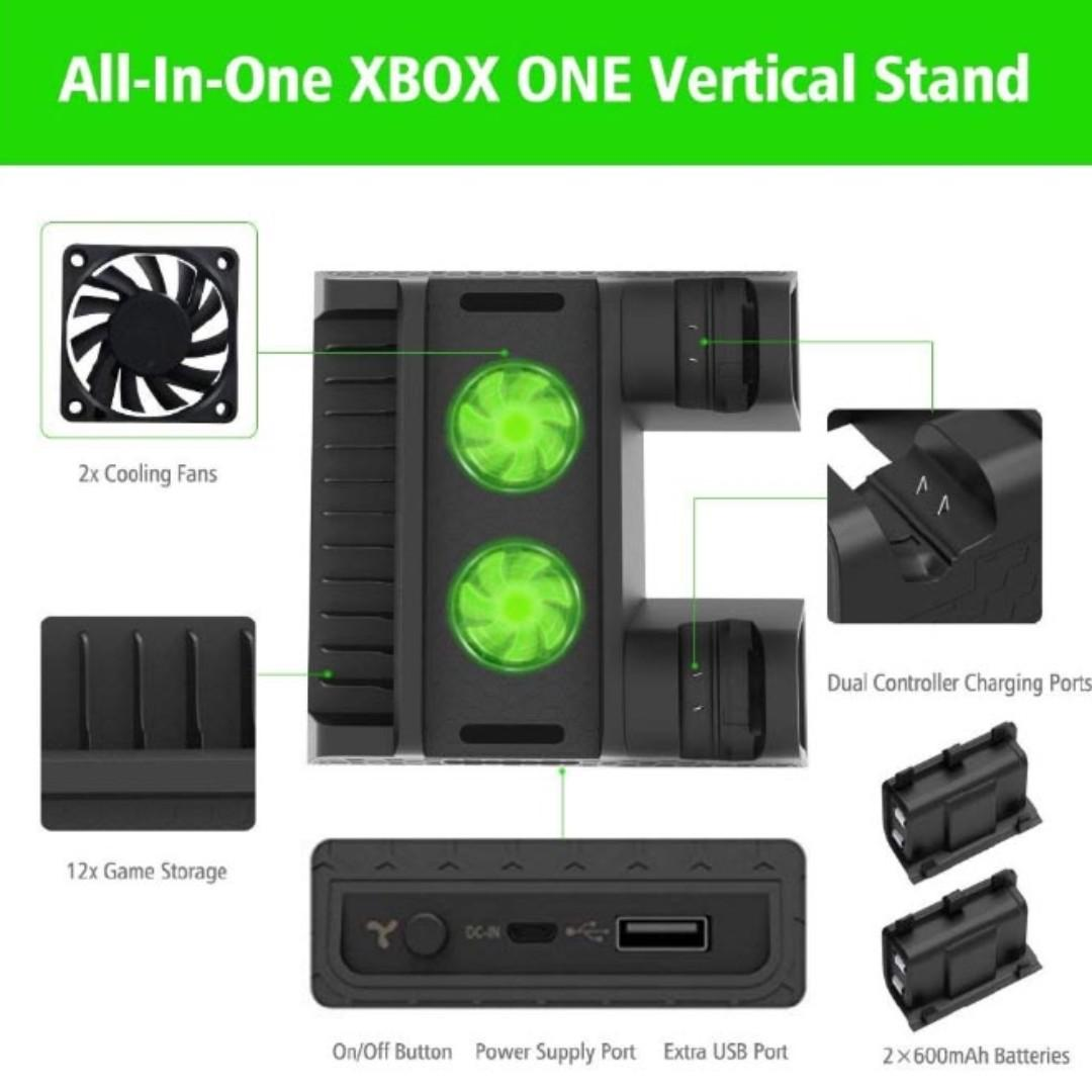 Cooling Fan Stand for Xbox One / One X / S with Batteries, Charger and Game Storage