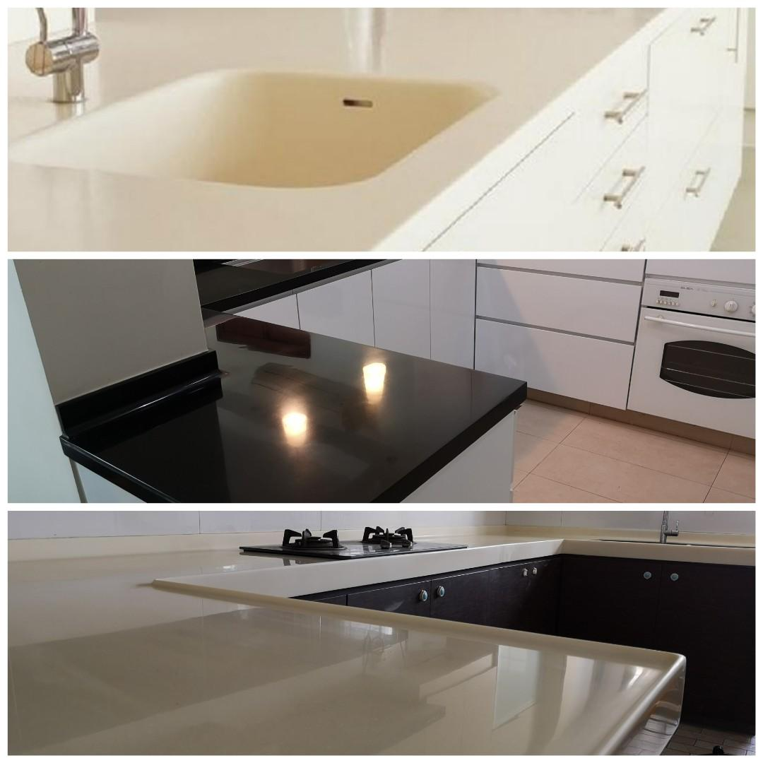 Solid surface top Polish/ Restoration Dust Free Kitchen top ...